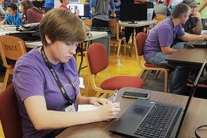 TFL student Amber at Southern Utah Code Camp 2017
