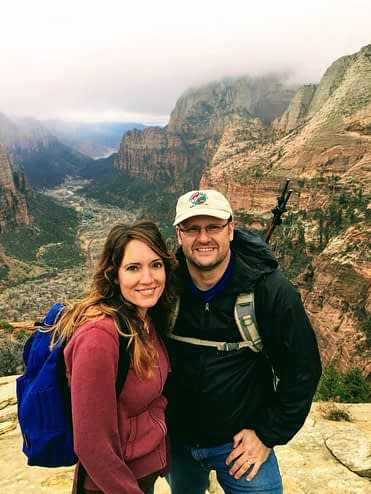 Enjoying the view on top of Angel's Landing at Zion National Park