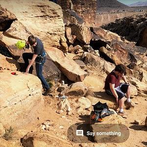 Rocking climbing in rugged terrain.